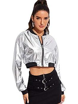 Floerns Women s Long Sleeve Lightweight Metallic Crop Bomber Jacket Silver XL