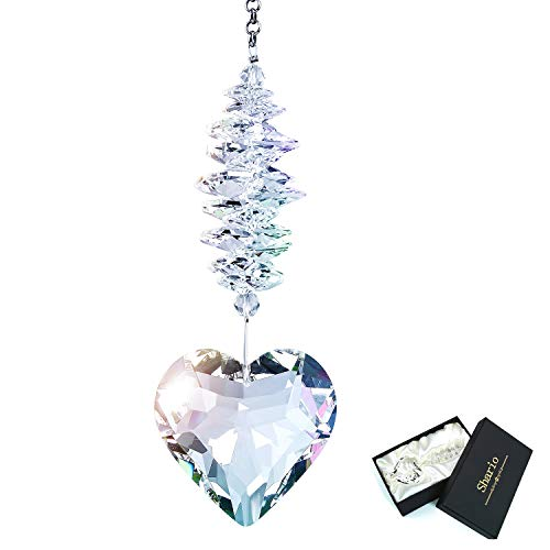 Shario 45mm Clear Glass Heart Crystal Ball Prism Pendant Suncatcher for Windows Outdoor Garden Hanging Décor Gifts for Women Mom and Children Clear