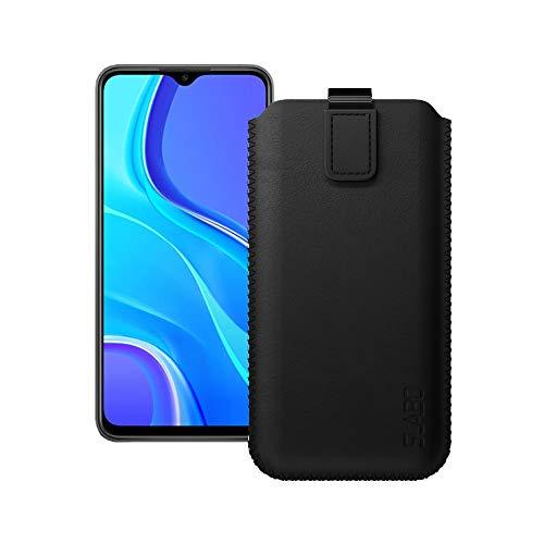 Slabo Schutzhülle für Xiaomi Redmi 9   Xiaomi Redmi 9A   Xiaomi Redmi 9C Schutztasche Handyhülle Hülle mit Magnetverschluss aus Kunstleder - SCHWARZ   Black
