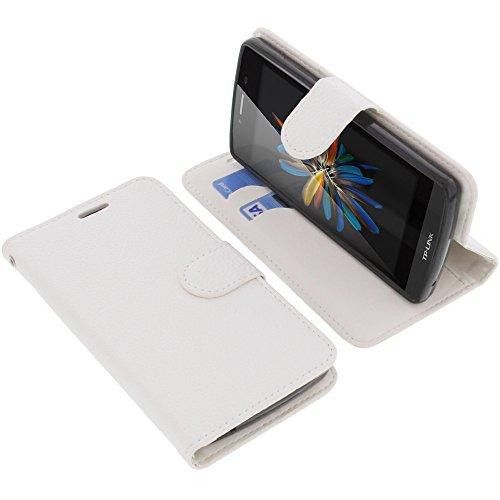 foto-kontor Tasche für TP-Link Neffos C5L Book Style weiß Schutz Hülle Buch
