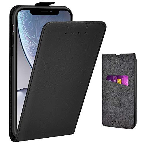 Adicase iPhone XR Hülle Leder Tasche für Apple iPhone XR Handyhülle Flip Case Schutzhülle (Schwarz)
