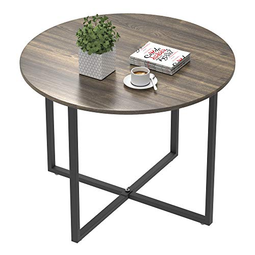 IDEALHOUSE Round Coffee Table, Vintage Design Furniture Sofa Table Cocktail Table for Living Room Bedroom Home Office Balcony (60cm, Grey)
