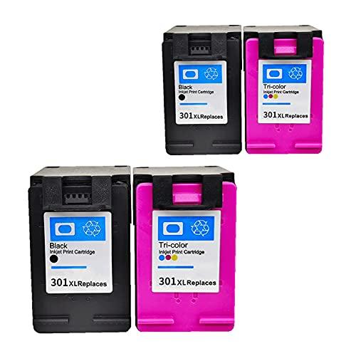 RICR Cartuchos De Tinta Remanufacturados para Reemplazo para HP 301 XL, Compatible para HP DeskJet 1000 1050 2000 2050 Impresora 2BK+2C