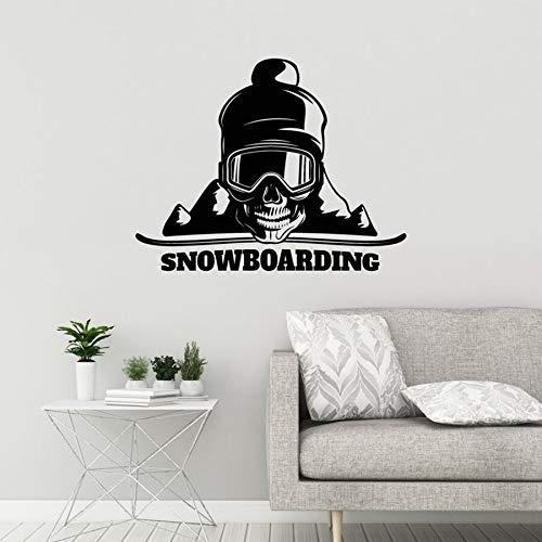 Vinyl Wandtattoo Snowboard Schädel Berg Sport Wandaufkleber Home Schlafzimmer Wandbild Dekoration 64X50Cm