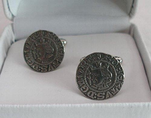Boutons de Manchette Pièce de Monnaie de Robert the Bruce (roi écossais) avec Boîte à Cadeau