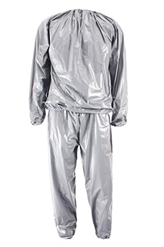 Cimoto Heavy Duty Fitness Weight Loss Sweat Sauna Suit Exercise Gym Anti-Rip Silver L