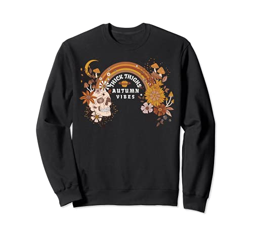 Boho Skull Halloween Witchy Spooky Thick Thighs Autumn Vibes Sweatshirt