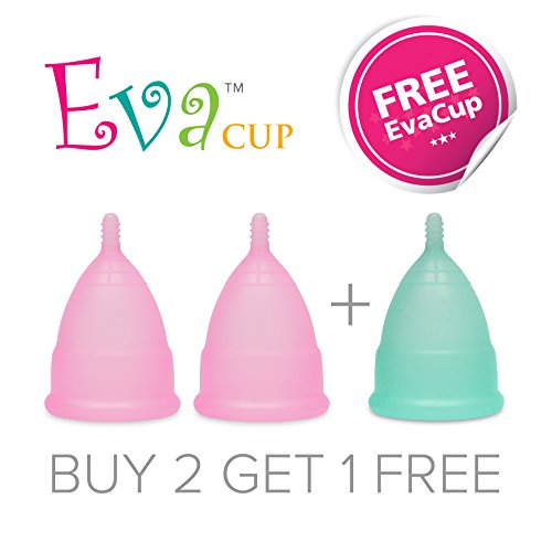 Anigan EvaCup - Top Quality - Reusable #1 Best Menstrual Cup -Great for Hiking Swimming Sport - 2 Small 1 Large