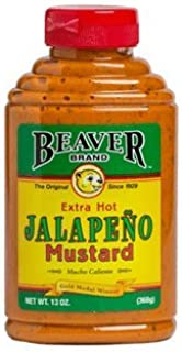 Beaver Extra Hot Jalapeno Mustard, 13 Ounce Squeeze Bottle (Pack of 6)