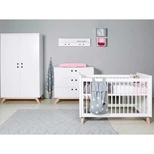 Chambre complète lit bébé 60x120 - commode à langer - armoire 2 portes Lynn - Blanc et Naturel