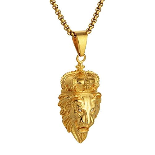 huangshuhua Collares Hip Hop Rock Colgantes de Animales Cabeza de león Acero de Titanio Collares de Cadena de Color Dorado Colgantes para Hombres Joyería de Moda