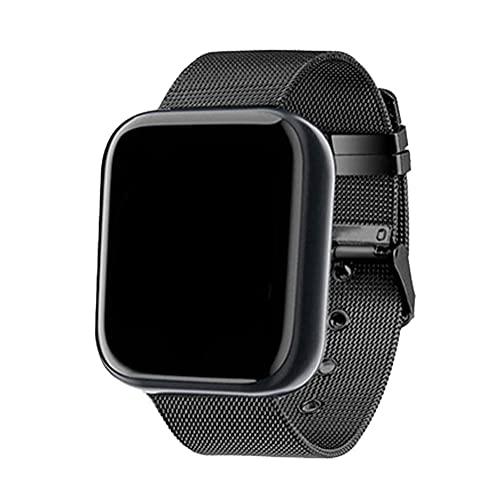 FeelMeet Reloj Elegante Y68 Fitness Sport SmartWatch y Tiras de Acero Control de Actividad con la presión del Ritmo cardíaco Deportes Sangre Hombres Mujeres Negro