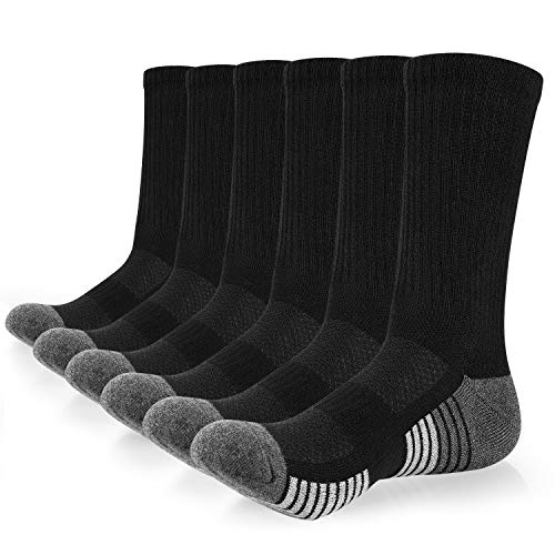 coskefy Cotton Sports Socks Cushioned Running Socks Trainer Socks for Men Women Walking Hiking Trekking Socks, 43624, 6 Pairs*black (A)