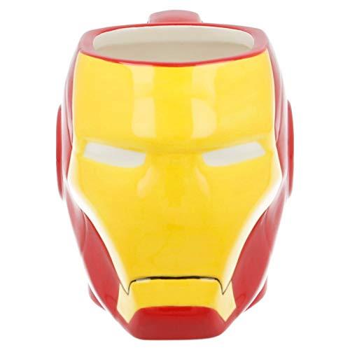 ALMACENESADAN 2577; Tazza in Ceramica 3D Ironman; Testa di Uomo di Ferro; capacità 420 ml