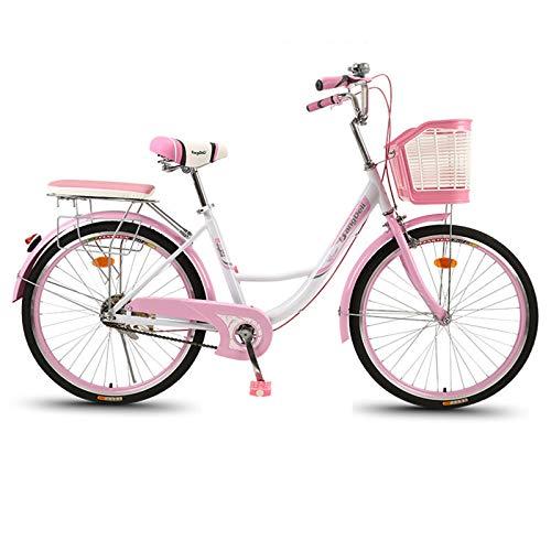 Bicicleta de cercanías 24/6 Pulgadas de Bicicleta Retro de Las Mujeres, Adulto Coche Ordinario de la Bicicleta Urbana, con Cesta para Hombre de la Ciudad de la Ciudad.