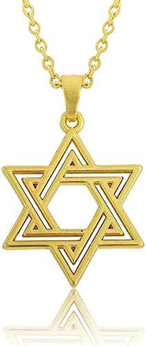 Yiffshunl Collar Colgante, Collar de Estrella, Collar de Color Dorado, Amuleto Sobrenatural, talismán, joyería judía, Collar, Regalo