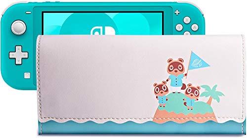 PALPOW Ultra Mince Case Étui de Transport de Pochette pour Nintendo Switch Lite, Sacoche en Cuir Portable avec Cartouches de Jeu Housse(Version de l'île)
