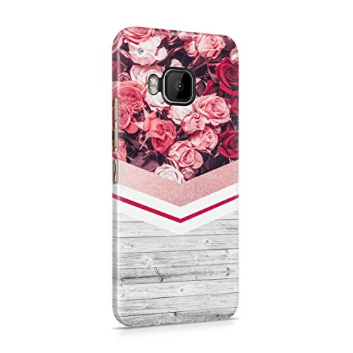 Floral Red Roses & Pale Grey Wood Planks Block Hard Plastic Phone Case for HTC One M9