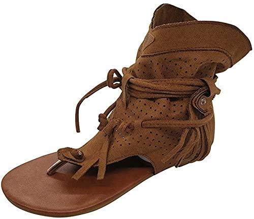 QAZW Sandalias con Borlas para Mujer, Zapatos Retro Medievales de Verano, Zapatos Planos Informales de Verano para Mujer, Zapatillas Antideslizantes con Tiras en T, Chanclas, Sandalias,Brown-4