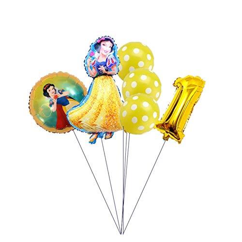 JSJJAET Globos de cumpleaños 6 unids Belle Cenicienta Nieve Blanco Princesa cumpleaños Fiesta decoración bebé Fiesta niño Fiesta Princesa Globo Globo Globo (Color : Yellow-1)