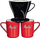Melitta Kaffee-Set, Kaffeehalter für Filtertüten und Porzellan-Tassen (2 Stück), Kaffeefilter 1x4 Standard, Kunststoff und Porzellan, Schwarz und Rot, 217939
