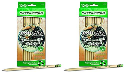 Dixon Ticonderoga EnviroStiks Natural Wood #2 Pencils, 6 Boxes of 12 (96212)