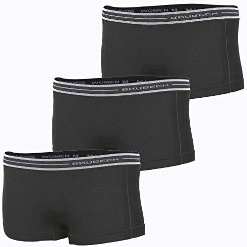 BRUBECK 3er Pack Damen Boxer Unterhose | Schwarze Slips | Funktionswäsche Outdoor I Laufunterhose I Damenunterwäsche I Radunterhose ohne Polster I 37% Merinowolle | Gr. XL; Black I BX10860