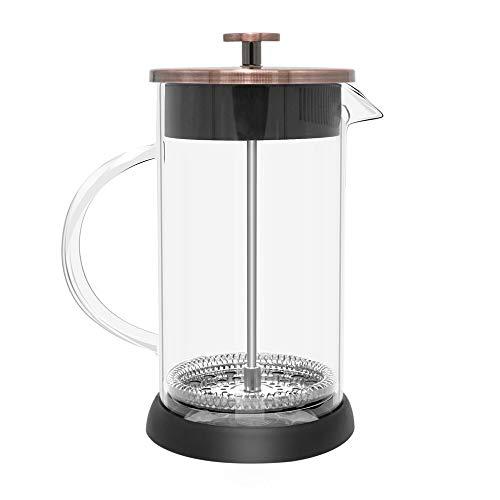 ステンレス鋼+ホウケイ酸塩フレンチプレスコーヒーポット、コーヒーメーカー、ティーポット1000mLコーヒーメーカーコーヒープランジャー (1000ml Gold)