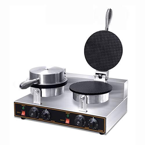 Gaufrier Fabricant de Rouleaux D'oeufs à la Crème Glacée Réchauffeurs Doubles pour Cornets de Crème Glacée Croustillants 50-300℃ Contrôle de la Température Machine de Minuterie 0-5 Minutes Waffle make