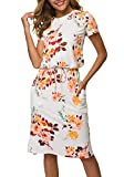 Women's Floral Short Sleeve Work Casual Midi Dress with Pockets White S