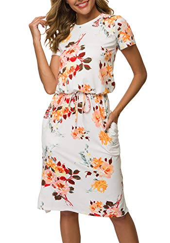 Women's Floral Short Sleeve Work Casual Midi Dress with Pockets White M
