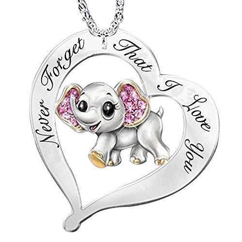Buhui Exquisite Pendant Women, Never Forget I Love You Printed Necklace, Lovely Elephant Heart Shape Necklace, Gift for Women