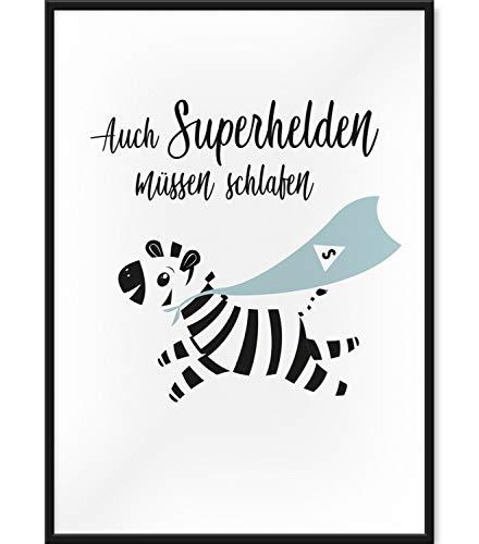 Papierschmiede Kinderposter | 30x40 cm | Wanddeko fürs Kinderzimmer | Jungen Mädchen | Bilder für den Bilderrahmen | Auch Superhelden müssen schlafen