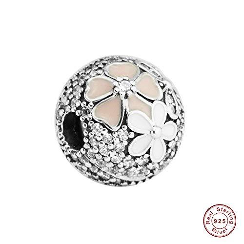 CHICBUY Frühling Rosa Poetische Blüte Clear CZ Clip DIY Perle 925 Silber passt für Original Pandora Armbänder Fashion Charm Schmuck