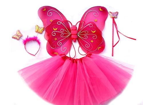 Tante Tina - Disfraz de Hadas Mariposa - Alas, Falda tutú, Varita mágica y Diadema - Fucsia con Cintas