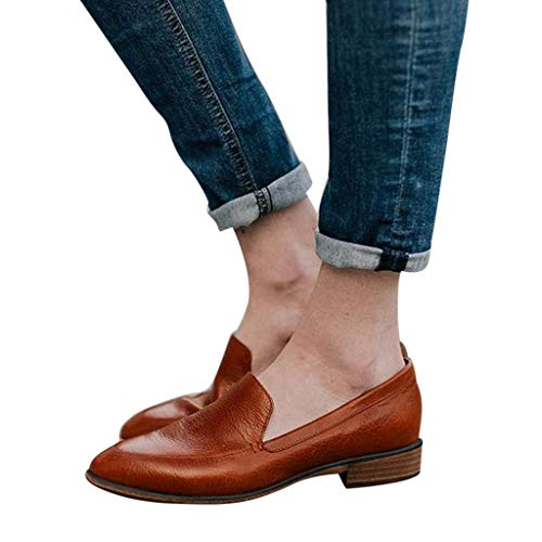 Brown Leather Faded Glory Slip on Shoes for Men