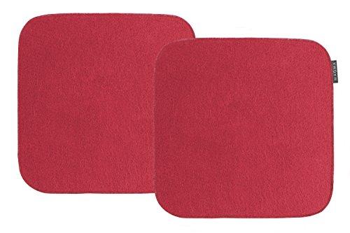 """Magma-Heimtex - Set """"Avaro"""" di 2 cuscini quadrati per sedie, in finto feltro, circa: 35 x 35 cm (rosso)"""