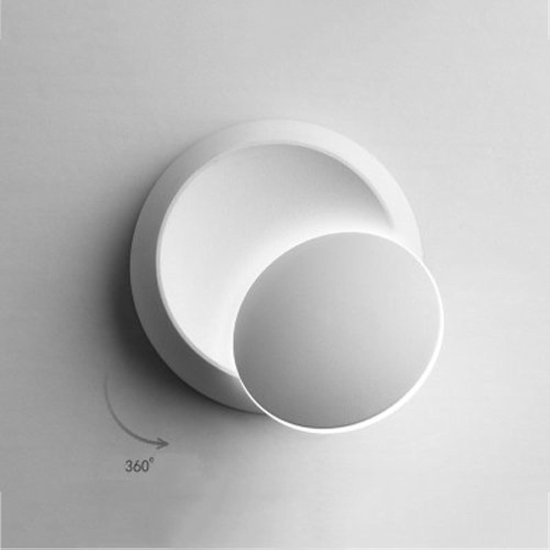 ZYY  360 & deg; Verstellbare LED Wandleuchte Quadratische Runde Metallwandleuchte Kreative Kunst Wohnzimmer Esszimmer Treppenhaus Wandleuchten Mond Wandleuchte (Farbe  Wei-rund-weies Licht)