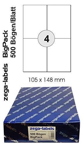 2.000 Etiketten 105 x 148 mm selbstklebend auf DIN A4 Bögen (2x2 Etiketten DIN A6) - 500 Blatt Bigpack - Universell für Laser/Inkjet/Kopierer einsetzbar