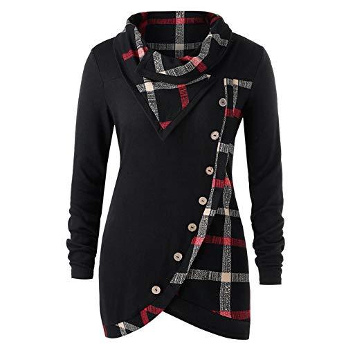 YSLMNOR Turtleneck Tunic Womens Plaid Sweatshirt Long Sleeve Irregular Hem Pullover Tops Khaki