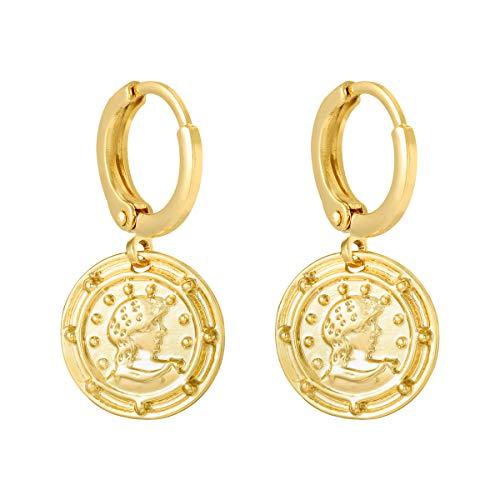 Creolen - 18K vergoldete Ohrringe mit Münze - Yehwang Damenmode Schmuck