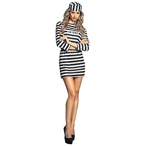 Boland- Carcerata Sexy Costume Donna, Colore Bianco/Nero, M, 83819
