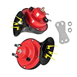 300DB Train Horn for Trucks Boat Car Air Electric, Super Loud Snail Single Horn, Double Horns Raging Sound for Trucks, Cars, Motorcycle, Bikes, Boats with 12v Power Supply