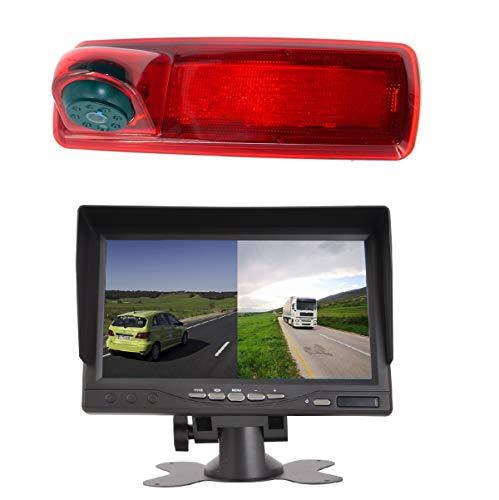 HD 720p 3. Bremslicht Rückfahrkamera-Set, 17,8 cm (7 Zoll) LCD-Monitor mit IP68 wasserdicht, Nachtsicht, Rückfahrkamera für Renault Trafic X82 MK3 Opel Vivaro Nissan Primastar Talento 14–19