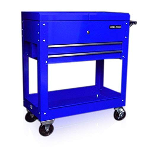 US PRO TOOLS BLUE STEEL MECHANICS TOOL LOCKABLE CART TOOL TROLLEY TOOL CABINET WORKSTAION LOCKABLE MOBILE TOOL BOX OPENING TOP