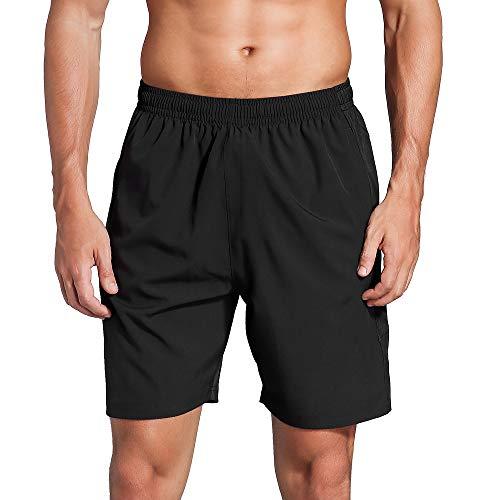 LUWELL PRO Sporthose Herren Kurz Laufhose Kurze Hose Schnell Trocknend Sport Shorts mit Reißverschlusstasch(007-Black-M)
