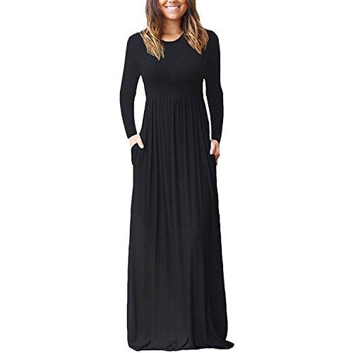 Petalum Damen Elegant Frühling Sommer Kleid Abendkleid Cocktailkleid Bequem Casual Lose Lange A Linie Maxi Kleid mit Taschen