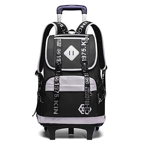 CCCLLL Scroll laptop backpack, travel wheel backpack luggage trolley school waterproof back bag 6 round detachable rod men and women suitable - black, blue,Black