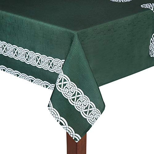 Celtic Traditions Green Irish Knot St. Patrick's Day Polyester Fabric Tablecloth (52' x 70' Rectangle/Oblong)