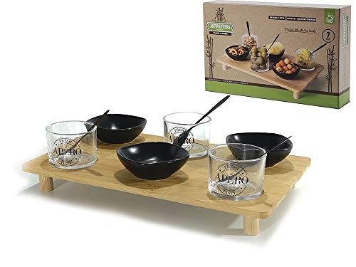 Set Aperitivo Moderno con Ciotoline e Bicchieri - 3 Ciotole Aperitivo in ceramica nero e 3 Bicchierini con cucchiaino con Cassoio bambù Finger Food Ciotoline Ceramica Casa Bamboo. Set da 10 pezzi